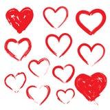 Coeurs de vecteur réglés Tiré par la main Photos libres de droits