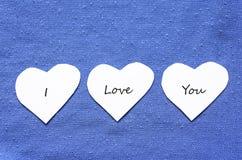 Coeurs des textes de Valentine Photo libre de droits