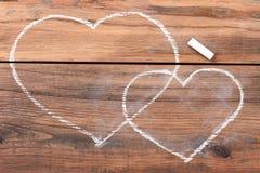 Coeurs dessinés avec la craie Photographie stock