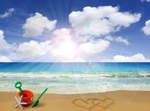 Coeurs dessinés en plage Photos libres de droits