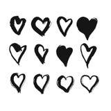 Coeurs dessinés par brosse noire Image libre de droits