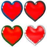 4 coeurs différents, chacun haut-taille et peuvent être employés séparément illustration libre de droits