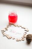 Coeurs en bois, confiture Images stock