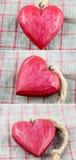 Coeurs en bois rouges Images libres de droits