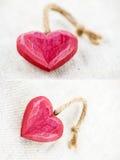 Coeurs en bois rouges Images stock