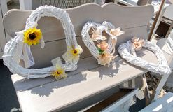 Coeurs en osier décoratifs Images stock