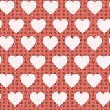 Coeurs en pastel et Dots Romantic Background de rétro modèle sans couture Photo stock