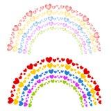 Coeurs en tant que clipart (images graphiques) coloré d'arcs-en-ciel illustration libre de droits