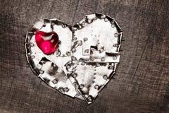 Coeurs en verre blindés et rouges en métal Photographie stock libre de droits