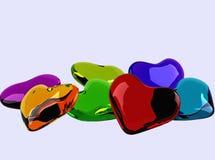 Coeurs en verre colorés Photo stock