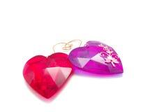 Coeurs en verre rouges Image libre de droits