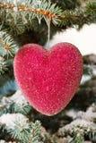 Coeurs en verre rouges de Noël Photos libres de droits