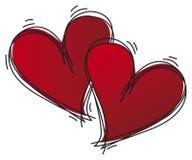 Coeurs esquissés Images libres de droits