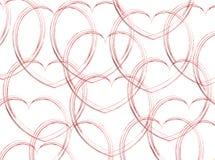 Coeurs esquissés sur le blanc Photographie stock