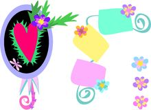Coeurs et étiquettes de fleur illustration libre de droits