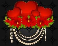 Coeurs et belles orchidées Photo stock