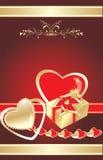 Coeurs et cadeau. Fond décoratif pour la carte Image stock