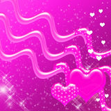 Coeurs et contexte roses d'étincelles Photographie stock
