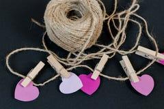 Coeurs et corde de jour de valentines Image libre de droits