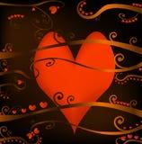 Coeurs et feuillage rouges Images stock