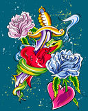Coeurs et fleurs Images libres de droits