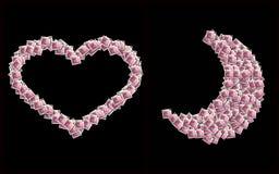Coeurs et lune d'amour formés Photographie stock