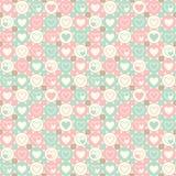 Coeurs et modèle géométrique sans couture de cercles Image stock