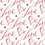 Coeurs et modèle sans couture de lettres Images libres de droits