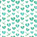 Coeurs et mod?le sans couture de libellules de turquoise, illustration d'aquarelle illustration libre de droits