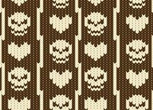 Coeurs et modèle tricoté par crâne Image libre de droits