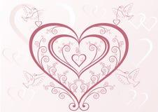 Coeurs et oiseaux Image stock