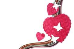 Coeurs et papillons de papier de coupe de conception Image stock