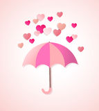 Coeurs et parapluie de papier illustration de vecteur