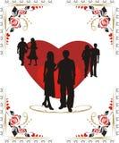 Coeurs et silhouettes de la jeunesse Image libre de droits