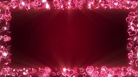Coeurs et ?toiles lumineux d'?tincelle Concept de jour d'amour et de valentines Nuit romantique Fond rouge Animation de boucle illustration stock
