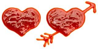 Coeurs faits de ketchup Images libres de droits