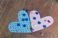 Coeurs faits de papier et perles Image libre de droits