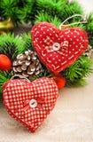 Coeurs faits main pour le décor de Noël Image libre de droits