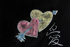 Coeurs, flèche et Images libres de droits