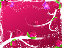 Coeurs, fleurs et guindineaux illustration de vecteur