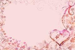 Coeurs floraux de fête de rose de carte de voeux Photographie stock libre de droits
