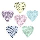 Coeurs graphiques d'ensemble tiré par la main pour le jour de Saint-Valentin, de mère ou les mariages illustration de vecteur