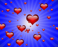 Coeurs graphiques dans un rayon bleu illustration de vecteur