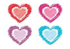 Coeurs griffonnés Photographie stock