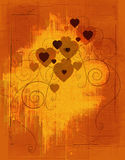 Coeurs grunges ambres Photos libres de droits