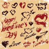 Coeurs grunges de jour de valentines réglés Image libre de droits