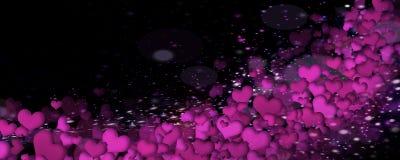 Coeurs lumineux sur un fond noir Photographie stock libre de droits