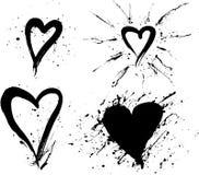 Coeurs malpropres d'encre Photos stock