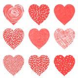Coeurs mignons de vecteur dans des couleurs rouges et blanches Photographie stock libre de droits