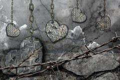 Coeurs modifiés la tonalité foncés de fond d'acier Photographie stock